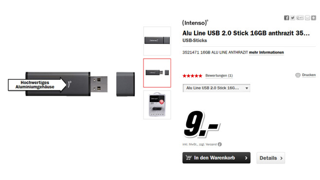 Intenso Alu Line USB Stick 16GB © Media Markt