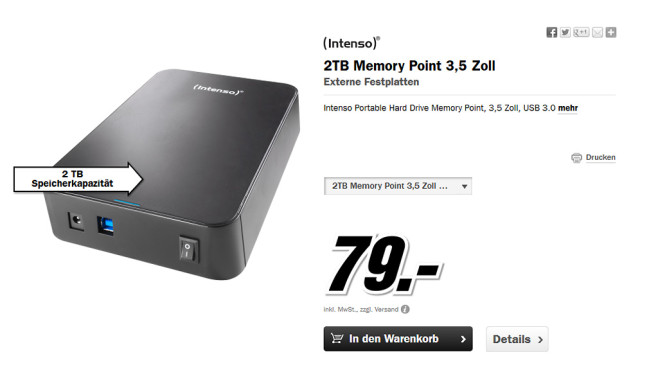 Intenso Memory Point 2TB © Media Markt
