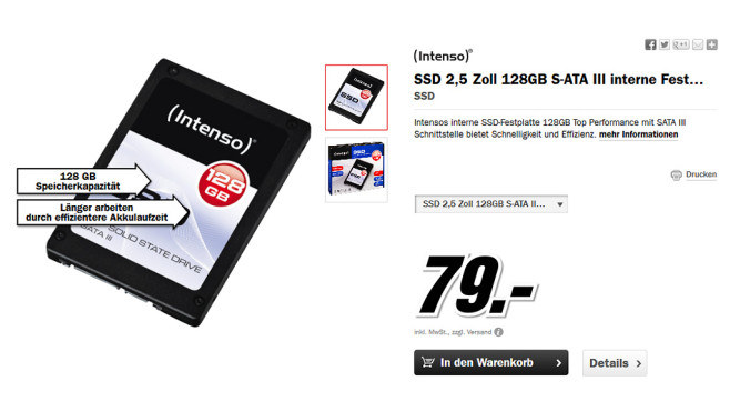 Intenso SATA III Top 128GB © Media Markt