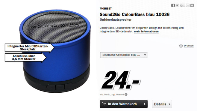 MOBISET Sound2Go Colour Bass © Media Markt