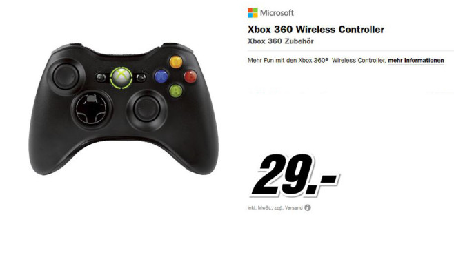Microsoft Xbox 360 Wireless Controller © Media Markt