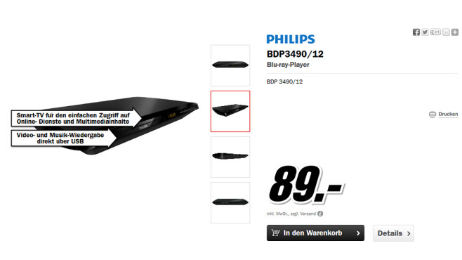 Philips BDP3490 © Media Markt