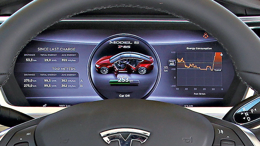 tesla model s bilder screenshots computer bild. Black Bedroom Furniture Sets. Home Design Ideas