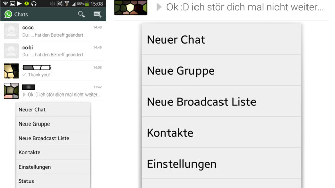 Gruppe erstellen: Chat-Men� © WhatsApp