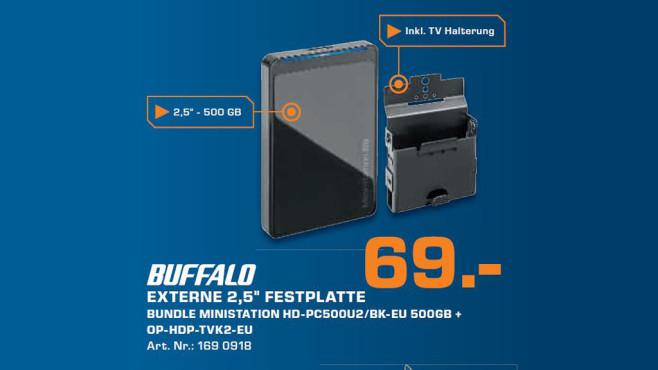 Buffalo MiniStation Blue LED 500GB (HD-PC500U2/GV) ©Saturn