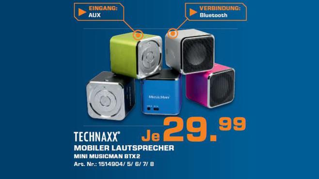 Technaxx MusicMan Mini Wireless Soundstation BT-X2 silber ©Saturn