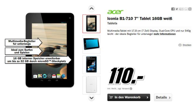 Acer Iconia B1-710 16GB weiß ©Media Markt