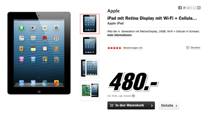 Apple iPad 4 16GB WiFi + 4G © Media Markt