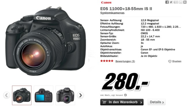 Canon EOS 1100D Kit 18-55 mm [Canon IS II] © Media Markt