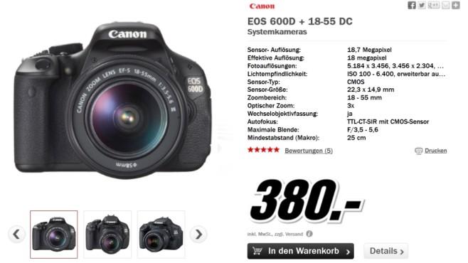 Canon EOS 600D Kit 18-55 mm [Canon IS II] ©Media Markt