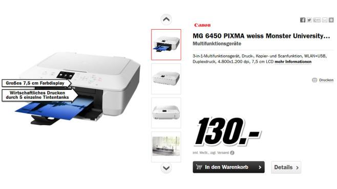 Canon PIXMA MG6450 ©Media Markt