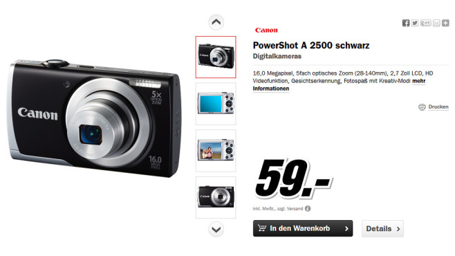 Canon PowerShot A2500 ©Media Markt