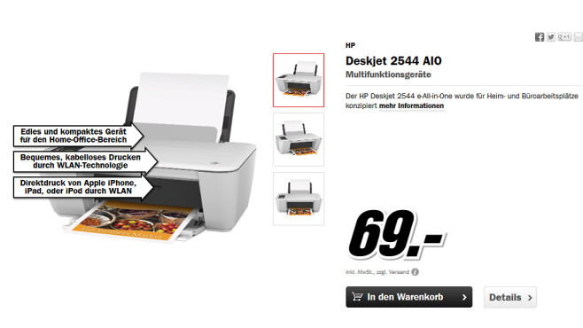 Hewlett-Packard HP Deskjet 2544 © Media Markt