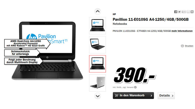 Hewlett-Packard HP Pavilion TouchSmart 11 © Media Markt