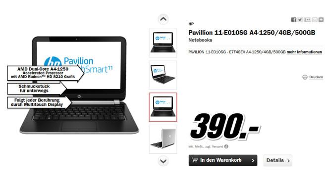 Hewlett-Packard HP Pavilion TouchSmart 11 ©Media Markt