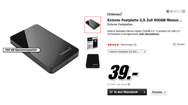 Intenso Memory Station 500GB © Media Markt