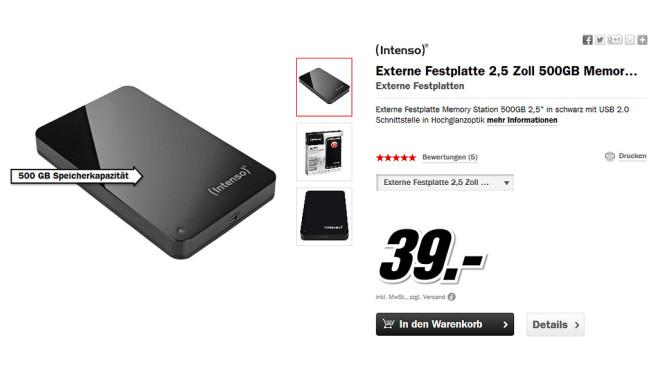 Intenso Memory Station 500GB ©Media Markt