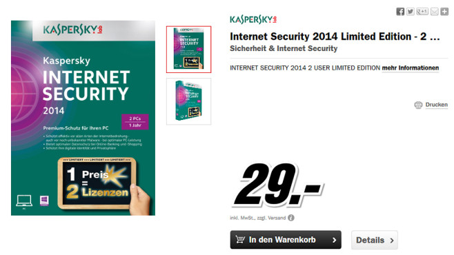 Kaspersky Internet Security 2014 (2 User) (1 Jahr) (DE) (Win) © Media Markt