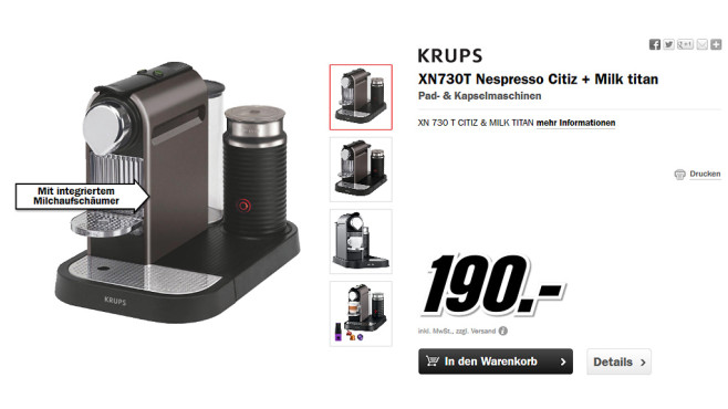 Krups Nespresso New CitiZ & Milk XN 730T Titan © Media Markt
