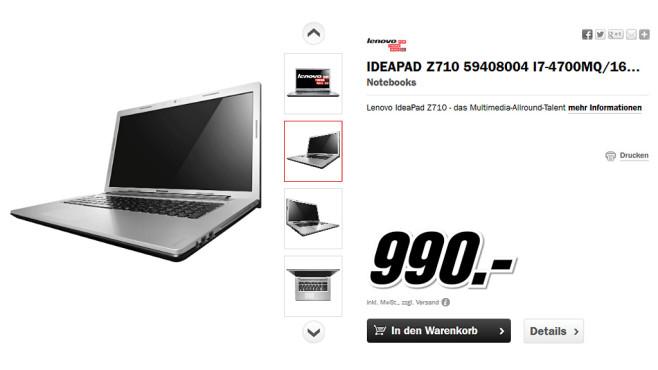 Lenovo IdeaPad Z710 59408004 ©Media Markt