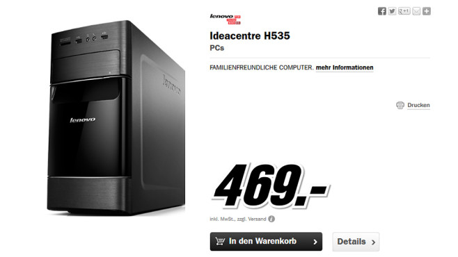 Lenovo Ideacentre H535 © Media Markt