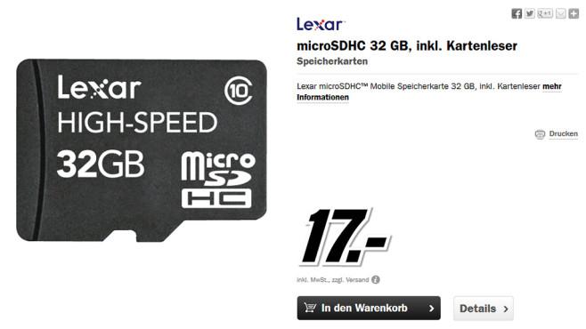 Lexar microSDHC Performance 32GB Class 10 (LSDMI32GBBEUR) ©Media Markt