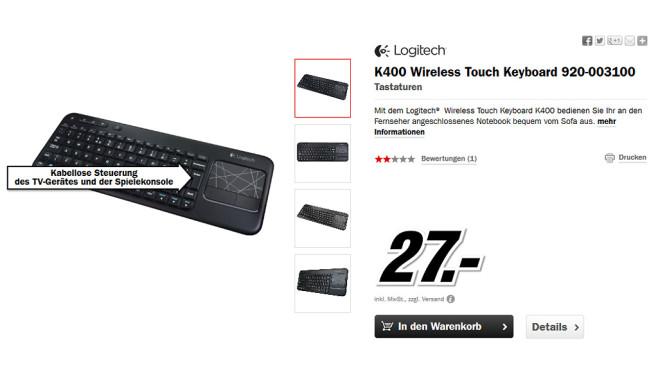 Logitech Wireless Touch Keyboard K400 ©Media Markt