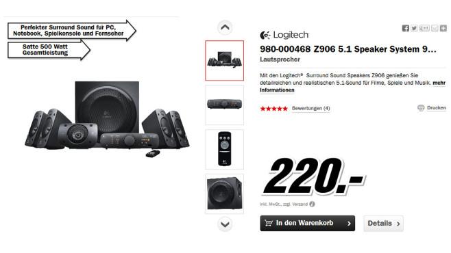 Logitech Z906 ©Media Markt