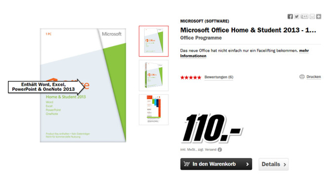 Microsoft Office 2013 Home and Student ©Media Markt