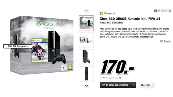 Microsoft Xbox 360 E 250GB + FIFA 14 ©Media Markt