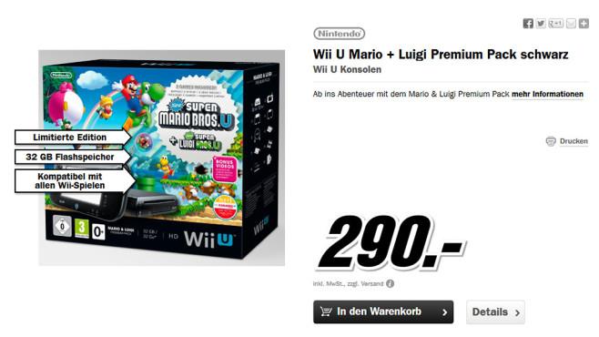 Nintendo Wii U Mario & Luigi Premium Pack ©Media Markt