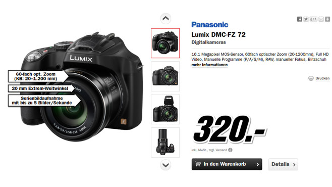 Panasonic Lumix DMC-FZ72 © Media Markt