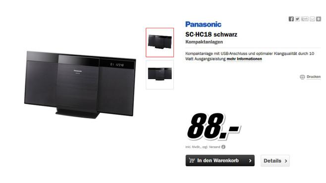 Panasonic SC-HC18 ©Media Markt