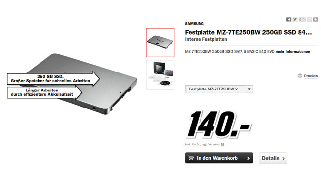 Samsung 840 Evo Series 250GB Basic © Media Markt