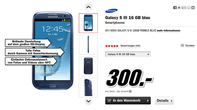 Samsung Galaxy S3 16GB © Media Markt