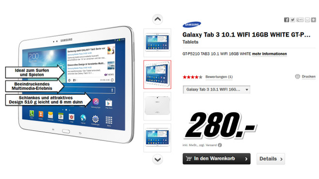 Samsung Galaxy Tab 3 (10.1) 16GB WiFi © Media Markt