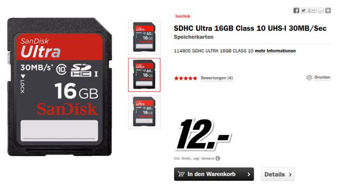 Sandisk Ultra SDHC 16GB Class 10 UHS-I (SDSDU-016G) ©Media Markt