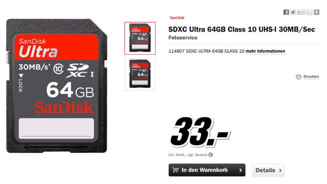 Sandisk Ultra SDXC 64GB Class 10 UHS-I (SDSDU-064G) ©Media Markt