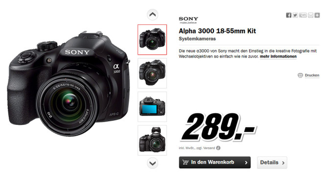 Sony Alpha 3000 Kit 18-55mm (ILCE-3000K) © Media Markt