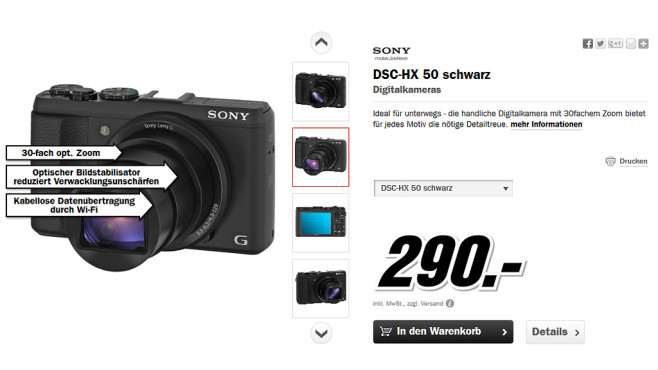 Sony Cyber-shot DSC-HX50 © Media Markt