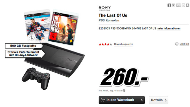 Sony PlayStation 3 (PS3) Super slim 500GB + The Last of Us + FIFA 14 ©Media Markt