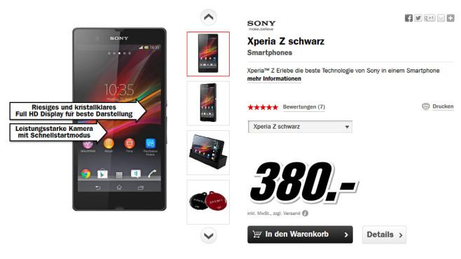 Sony Xperia Z ©Media Markt