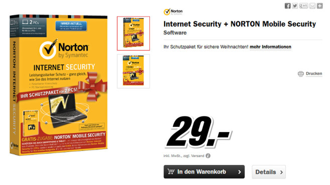 Symantec Norton Internet Security 2014 + Mobile Security 3.0 (2 PCs) (1 User) (1 Jahr) (DE) (Win) © Media Markt