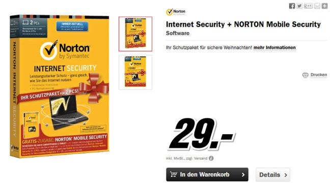 Symantec Norton Internet Security 2014 + Mobile Security 3.0 (2 PCs) (1 User) (1 Jahr) (DE) (Win) ©Media Markt