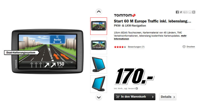TomTom Start 60 M Europe Traffic © Media Markt