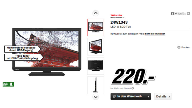 Toshiba 24W1343 ©Media Markt