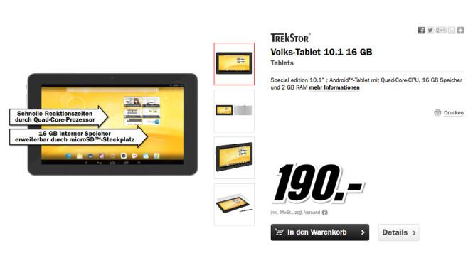 Trekstor Volks-Tablet ©Media Markt