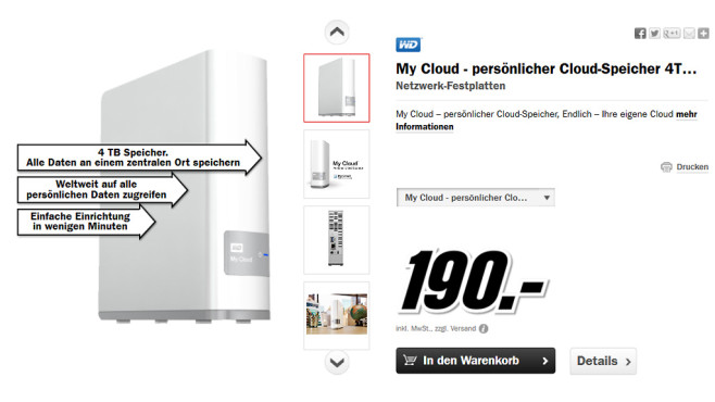 Western Digital My Cloud © Media Markt
