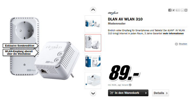 devolo DLAN AV WLAN 310 Starter Kit © Media Markt