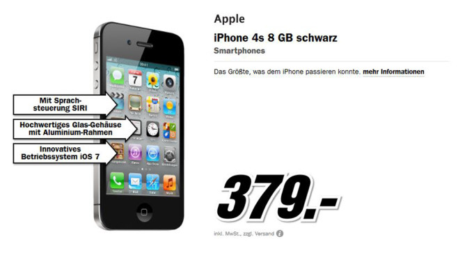 Apple iPhone 4S 8GB Schwarz © Media Markt